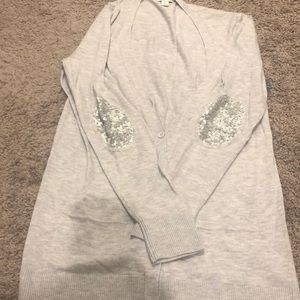 Gray sequin elbow patch sweater